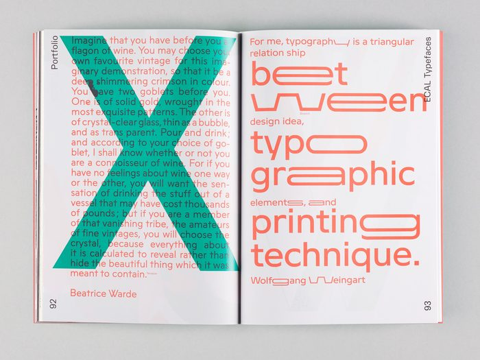 Spread about ECAL Typefaces featuring Terrazzo (Luke Archer) and Stretch (Daniel Hättenschwiller).
