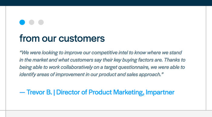 Quotes in the customer testimonial section are set in italics.
