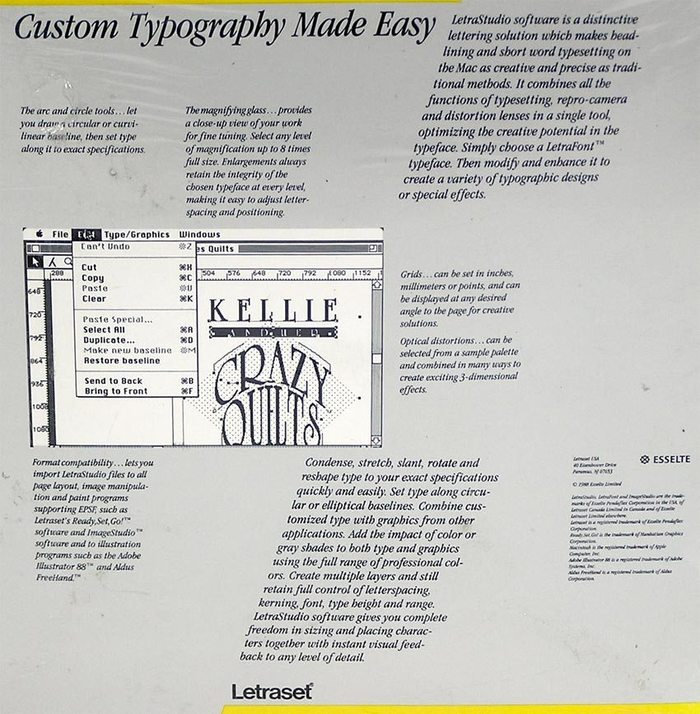 "LetraStudio box, back side. ""Condense, stretch, slant, rotate and reshape your type to your exact specifications quickly and easily."""