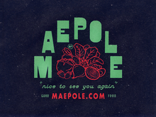 Maepole restaurant logo, sign, menu, website
