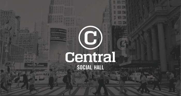 Central Social Hall logo and sign 1