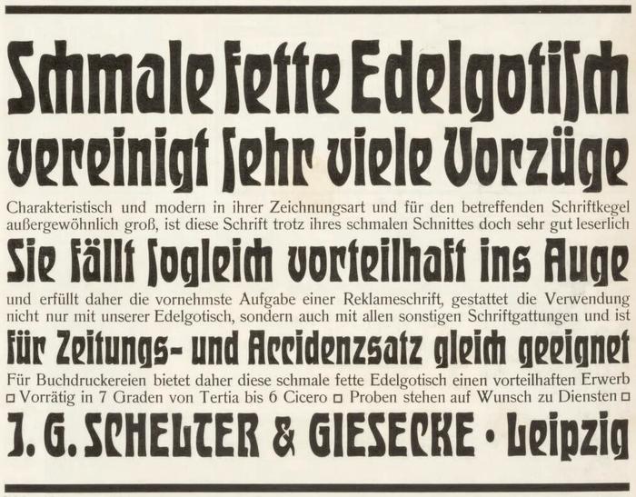 Ad by J.G. Schelter & Giesecke announcing the schmal fett style of Edelgotisch in the German trade journal Archiv für Buchgewerbe in 1904.