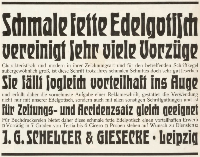 Ad by J.G. Schelter & Giesecke announcing the schmal fett style of Edelgotisch in the German trade journal Archiv für Buchgewerbe in 1904.