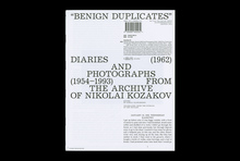 <cite>Benign Duplicates. Diaries and Photographs From The Archive of N. Kozakov</cite>