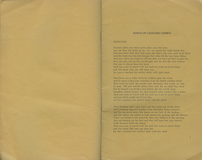 Leonard Cohen lyrics booklet 3