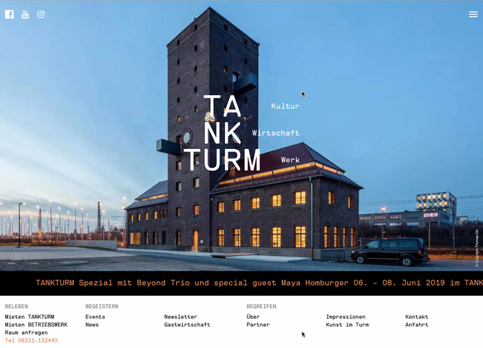 Homepage of the Tankturm website (photo © Thomas Ott).