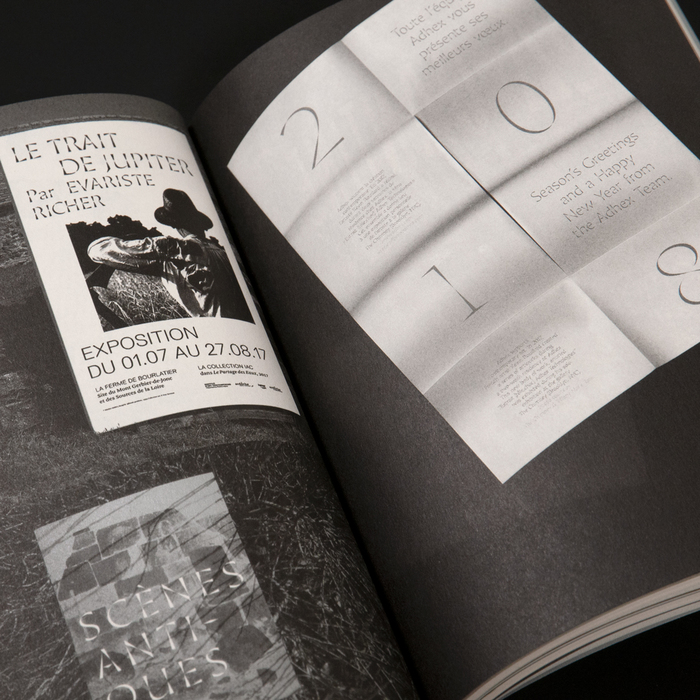 Spread with various uses of Minérale by Thomas Huot-Marchand: posters for Le trait de Jupiter and Scènes antiques (left), a new year's card by Adhex Technologies (right).