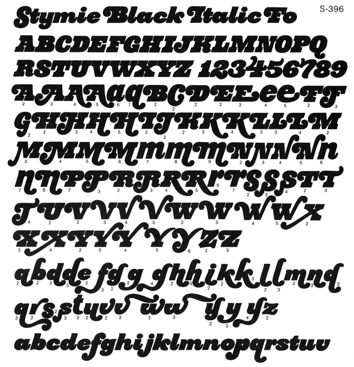Glyph set from an undated Typeshop Selection catalog.