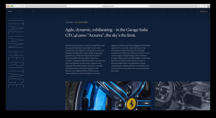 Garage Italia website 3