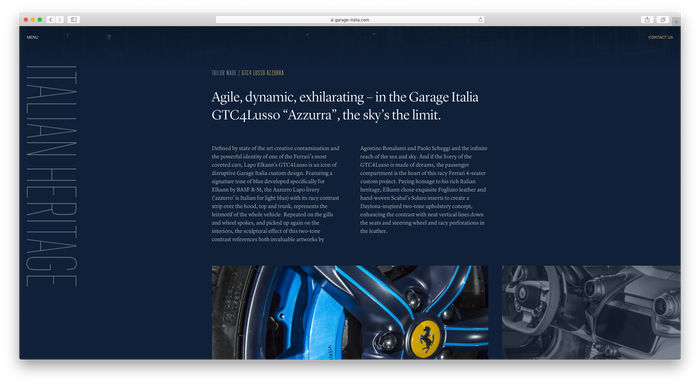 Garage Italia website 3