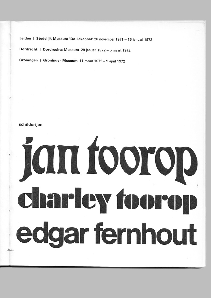 Jan Toorop, Charley Toorop & Edgar Fernhout exhibition catalog 2