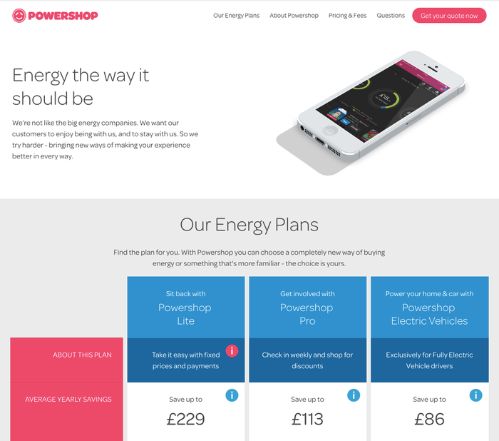 The website of Powershop UK uses Omnes in several weights and for everything from headlines to body copy and menus.