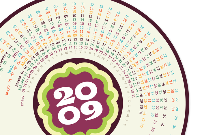This circular calendar combines Birra's numerals for the year with  for the smaller elements.