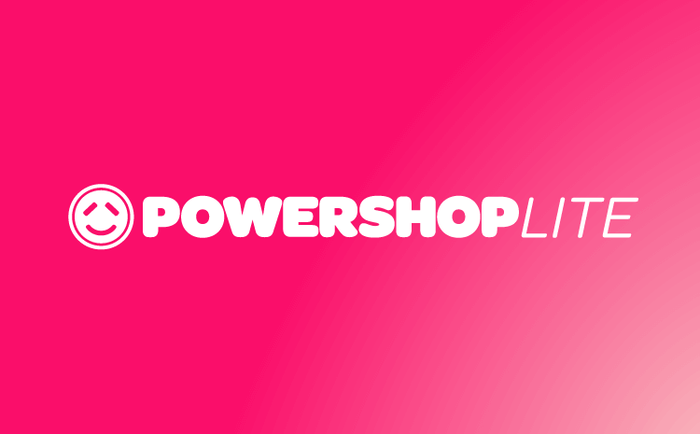 The Powershop logo is in uppercase letters from Omnes Black, with tightened spacing. The center of W was raised to meet the cap line.