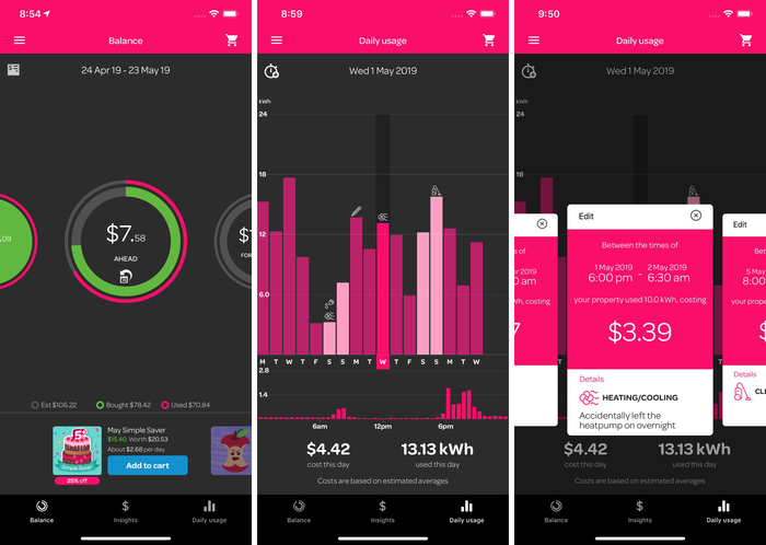 Omnes in use for the iPhone app from Powershop New Zealand.