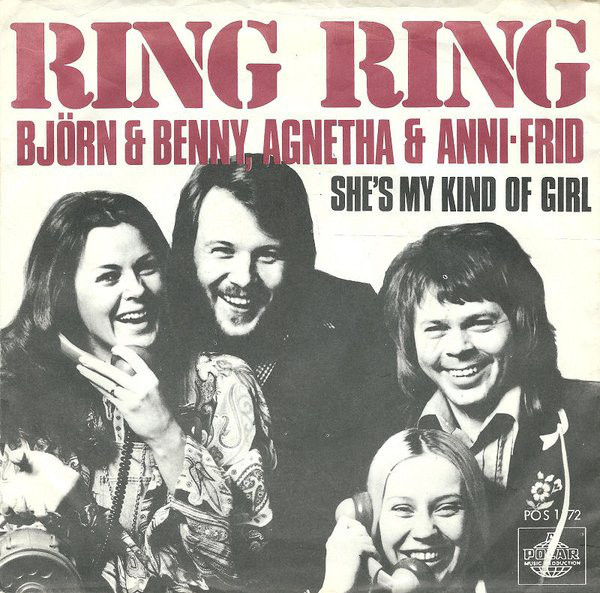 Ring Ring by Björn Benny & Agnetha Frida, released on 26 March 1973 on Polar Records, Sweden. The cover was designed by Peter Wiking, with photography by Bengt H. Malmqvist and a tightly spaced version of  Extra Bold with enlarged dots. The ampersand appears to be a custom addition.