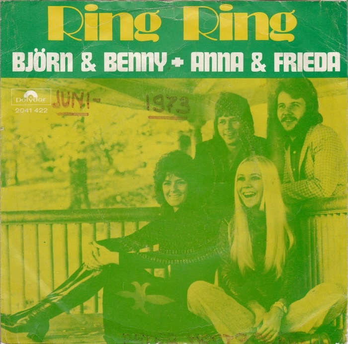 "The Dutch sleeve for ""Ring Ring"" (Polydor) pairs the descenderless  with caps from . Note the ""surprised frog"" Ö with affixed dots in ""Björn""."