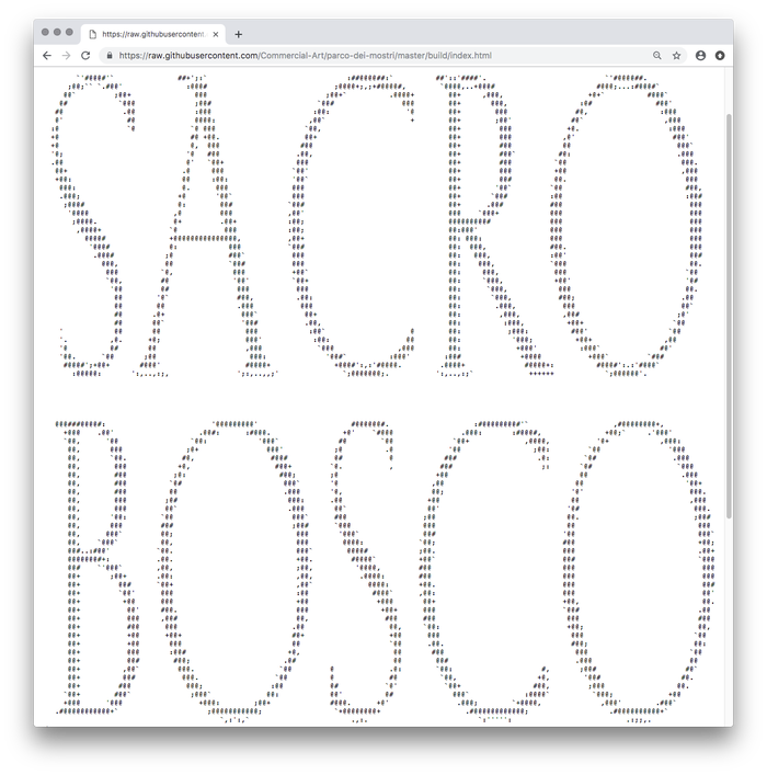 The source code of the website included an ASCII version of Kessler's letterforms.
