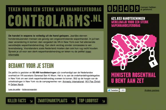 Controlarms.nl activist website 1