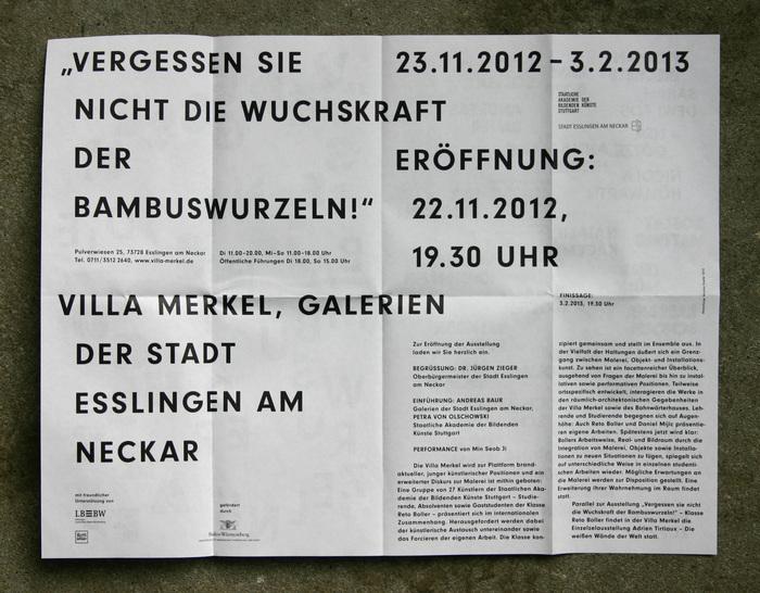 """Invitation poster for """"Vergessen Sie nicht die Wuchskraft der Bambuswurzeln!"""" 4"""