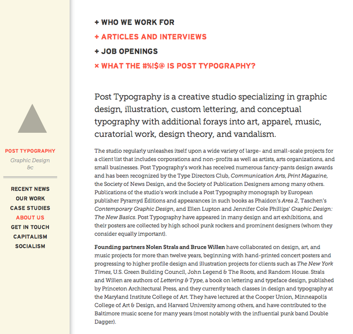 Post Typography website 1