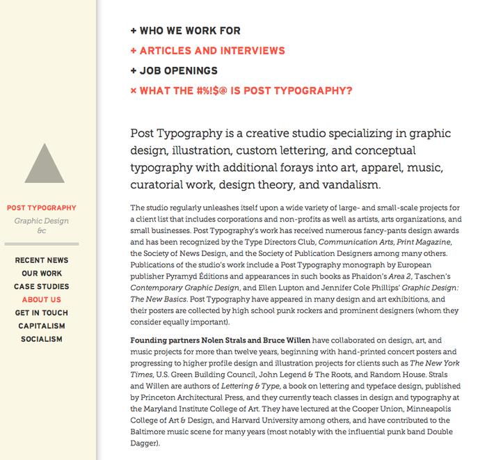 Post Typography website 1