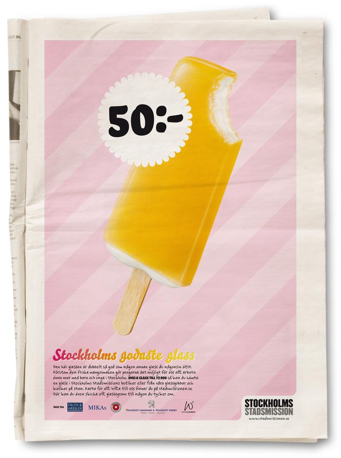 """""""Stockholms godaste glass"""" Campaign for Stockholms Stadsmission 1"""