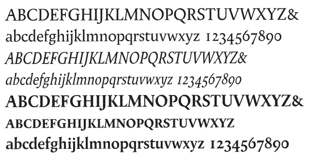 Matthew Carter's version (1982 & 1997) of Berthold Wolpe's 1937 typeface. Scan from The Art of Matthew Carter, Princeton Architectural Press (2003)