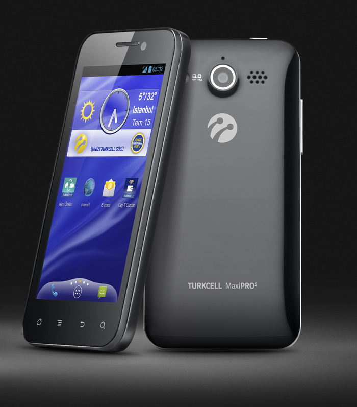 A mix of Regular and Bold is used on Turkcell's own hardware for the product names. Here on the MaxiPro5 phone.