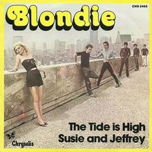 """Blondie – """"The Tide is High"""" / """"Susie and Jeffrey"""" French single cover"""