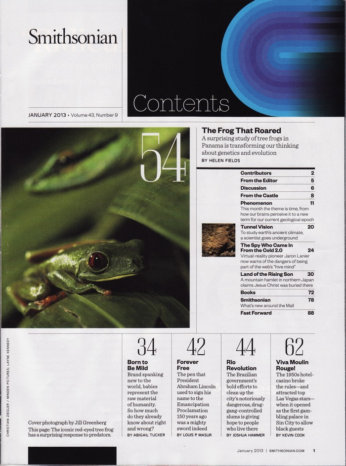Smithsonian magazine table of contents (1989 & 2013) 1
