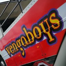 "Vengaboys logo, ""We're Going To Ibiza!"" single and <cite>The Party Album!</cite>"