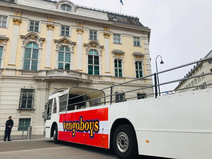 """The Vengabus is coming / And everybody's jumping"" … spotted on its way to Vienna."