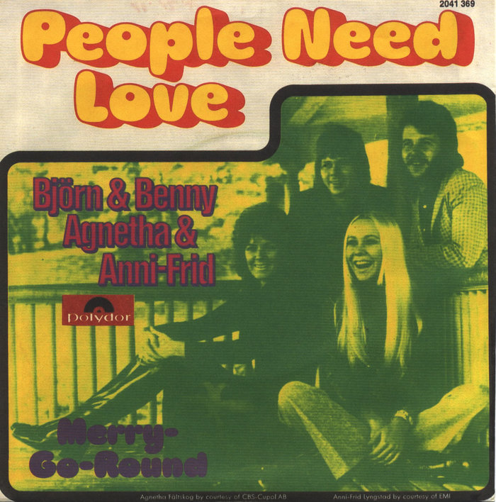 "German release of ""People Need Love"" on Polydor. The fonts in use are  and ."