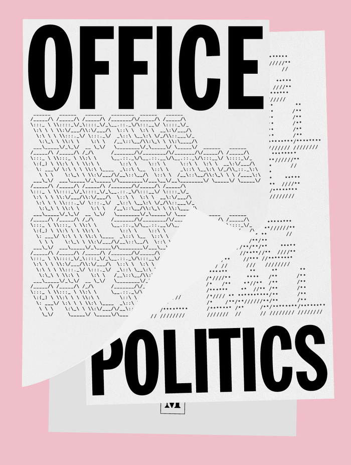 "For the cover for Office Politics, Louissaint paired caps from Bitstream's  Extra Condensed with ASCII art made with the Text to ASCII Art Generator by Patrick Gillespie (aka Pat or JK). The selected FIGlet ""fonts"" are called Swamp Land by bpg and 3-D by Daniel Henninger. Their character patterns are here rendered in ."