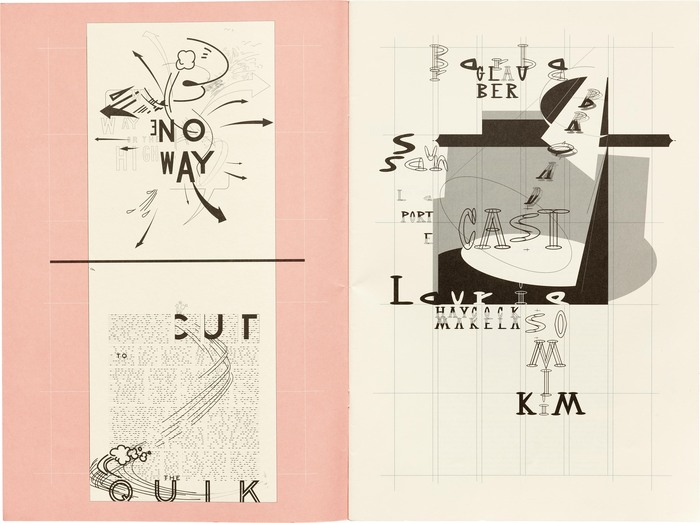 Inside cover designed by Barbara Glauber. The lettering is likely sourced from U.S. highway signs, not , though the typeface was released in the same year.