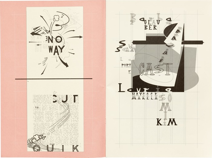 Inside cover (left) designed by Barbara Glauber. The lettering is likely sourced from U.S. highway signs, not , though the typeface was released in the same year.