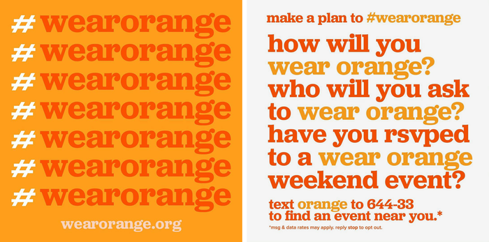 Social media graphics announcing the hashtag #WearOrange.