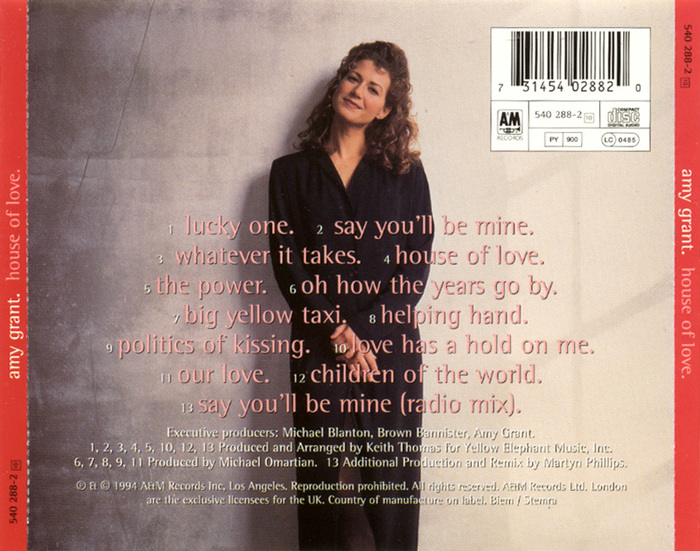 European CD album cover (back)