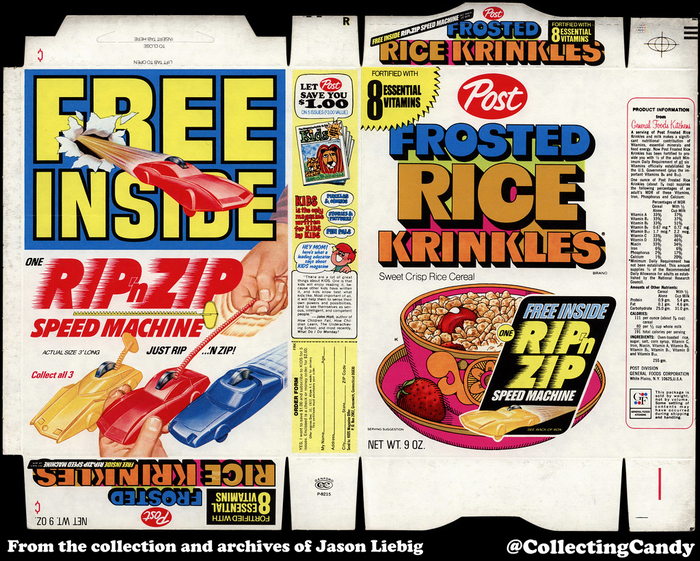 """Free inside: One Rip 'n Zip Speed Machine. Just rip … 'n zip! Collect all 3"". The ad for Kids magazine on the side mentions an expiry date of 12/31/72. There was also a version featuring ""3 Jackson Five Groovie Buttons""."