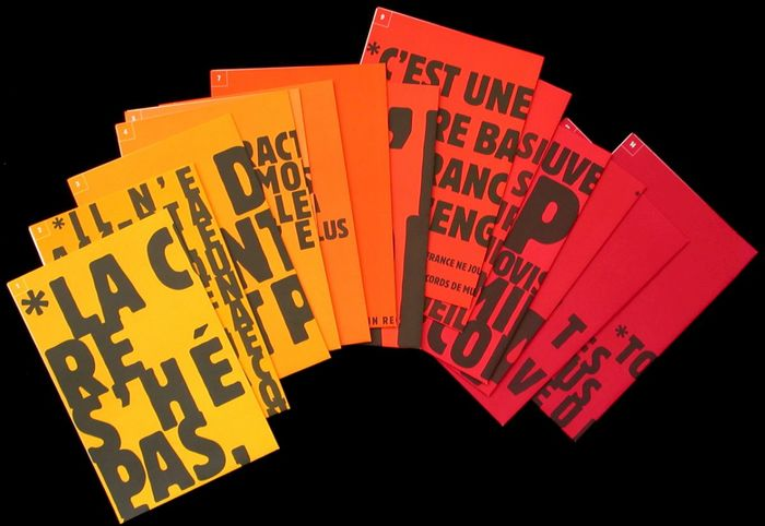 The entire series of fourteen affiches-manifestes Catherine Zask designed for SCAM.