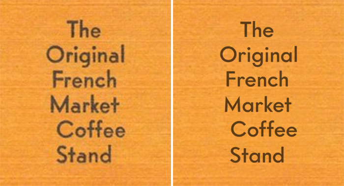 Detail from the postcard set in the original Vogue (Intertype, 1930; left), compared to the digital Intervogue Medium (Miller Type Foundry, 2018; right). With the uncurtailed descender on g, the monocular a (no two-storey alternate available), the M with splayed legs, and the shorter capitals, the revival moves closer to Futura.