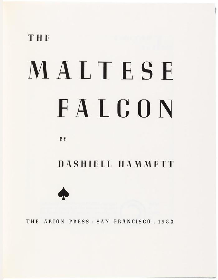 The Maltese Falcon (Arion Press, 1983) 3