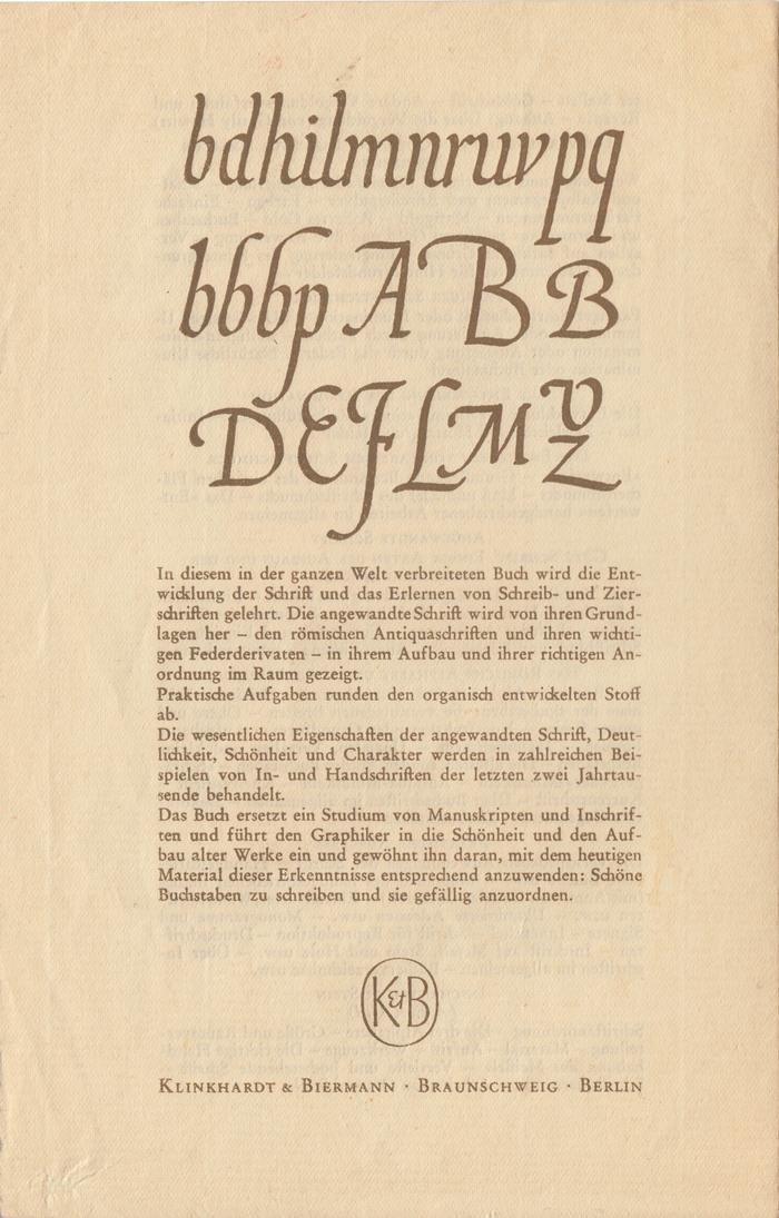 Schreibschrift, Zierschrift und angewandte Schrift, Klinkhardt & Biermann ad 3