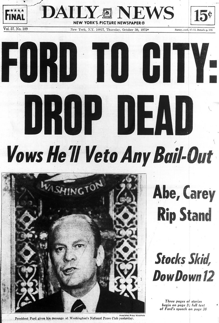 In a speech before the National Press Club on October 29, 1975, President Gerald Ford denies the near-bankrupt New York City a federal bailout.