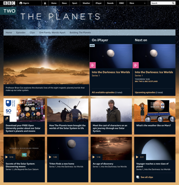 Web page for The Planets (2019)