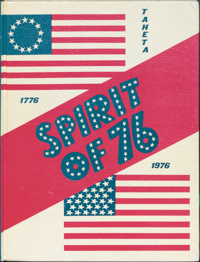 The cover design addresses the United States Bicentennial and shows the Betsy Ross flag from 1776 next to the 50-star flag introduced in 1960.
