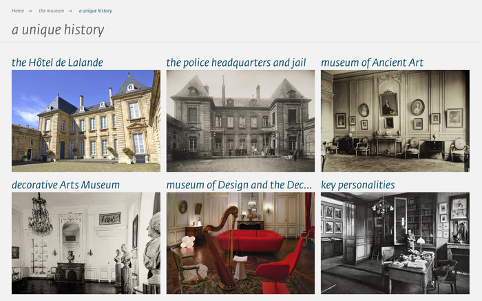Visual submenu about the museum's history.