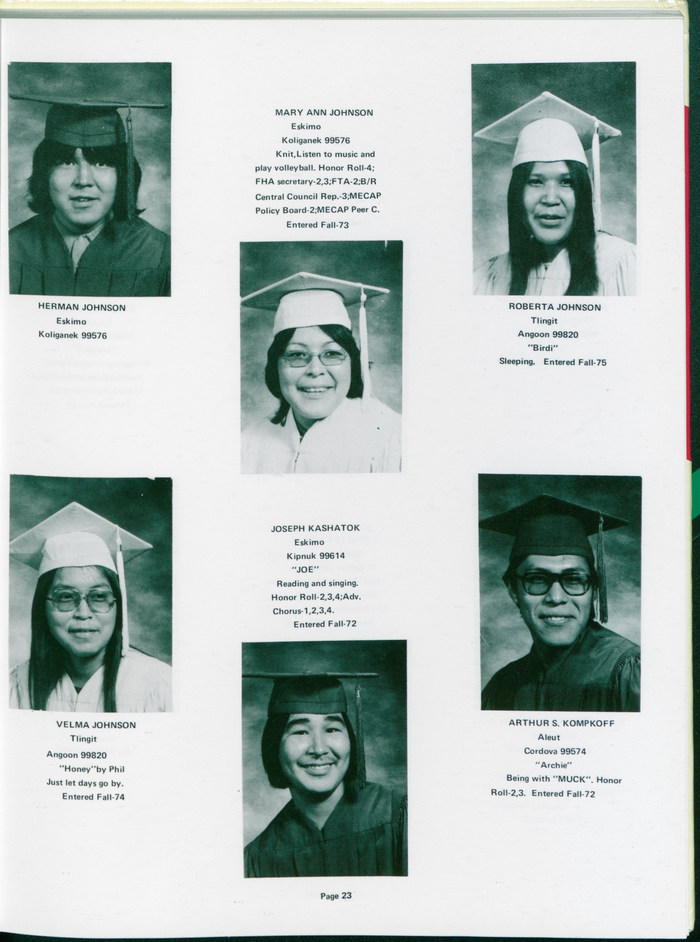 The Mt. Edgcumbe High School was operated by the federal Bureau of Indian Affairs (BIA) at the time. Most of the student body is Alaska Native. The graduates identified as Eskimo, Tlingit, Aleut, and Athabascan.