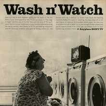 """Wash n' Watch"" ad for Sony television (1965)"